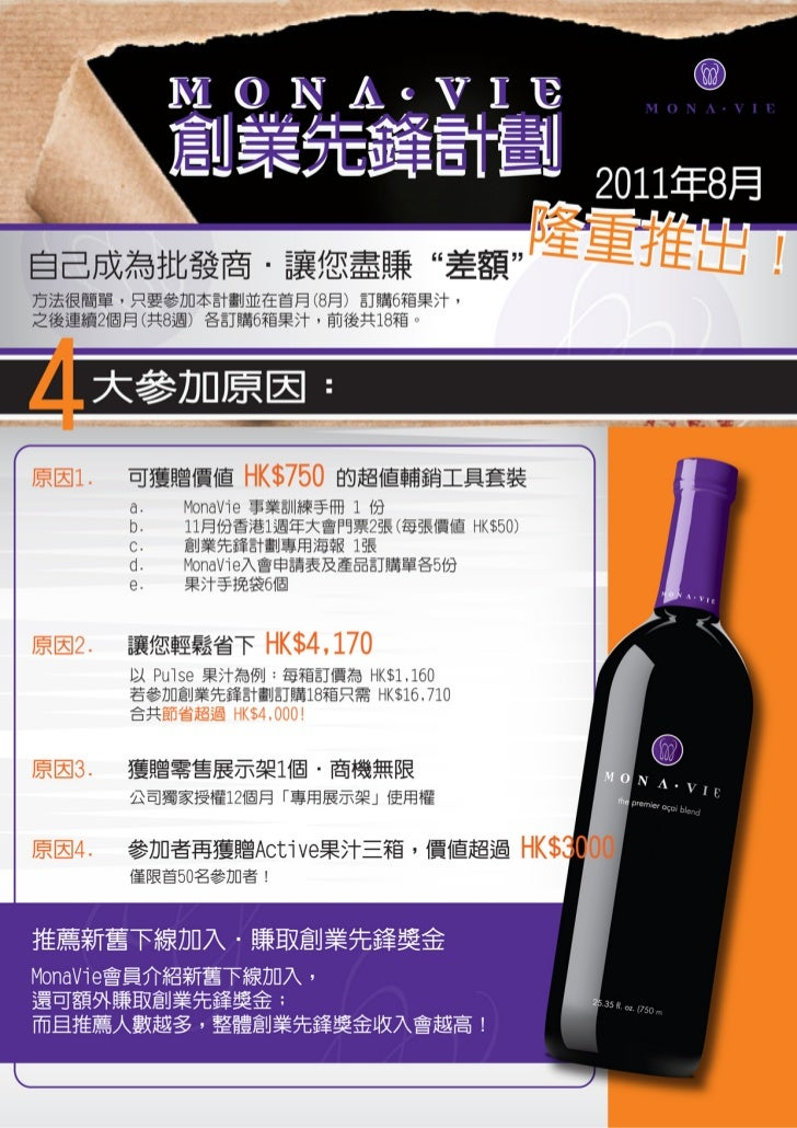 MonaVie 香港分公司                         創業先鋒計劃(Business Builder Pioneer Program) 第一期                      參加申請書(必須在 345 週至 3...