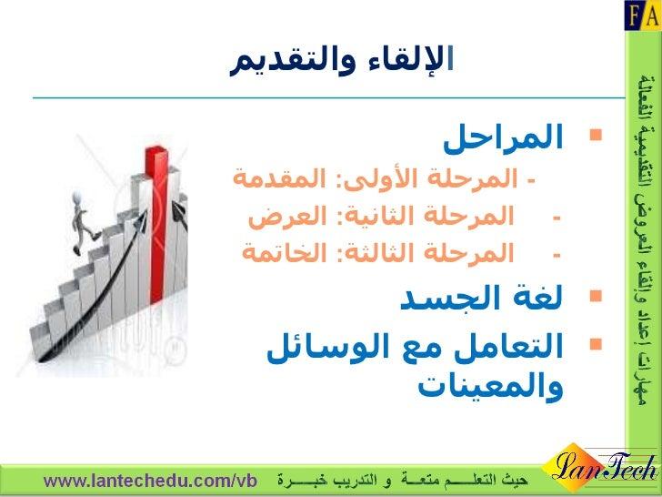 ا لإلقاء والتقديم <ul><li>المراحل  </li></ul><ul><li>-  المرحلة الأولى :  المقدمة </li></ul><ul><li>-  المرحلة الثانية :  ...