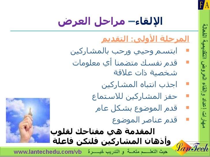 الإلقاء –  مراحل العرض <ul><li>المرحلة الأولى :  التقديم </li></ul><ul><li>ابتسم وحيي ورحب بالمشاركين </li></ul><ul><li>قد...