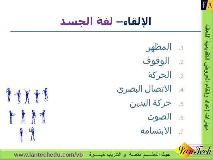<ul><li>المظهر </li></ul><ul><li>الوقوف  </li></ul><ul><li>الحركة </li></ul><ul><li>الاتصال البصري </li></ul><ul><li>حركة ...
