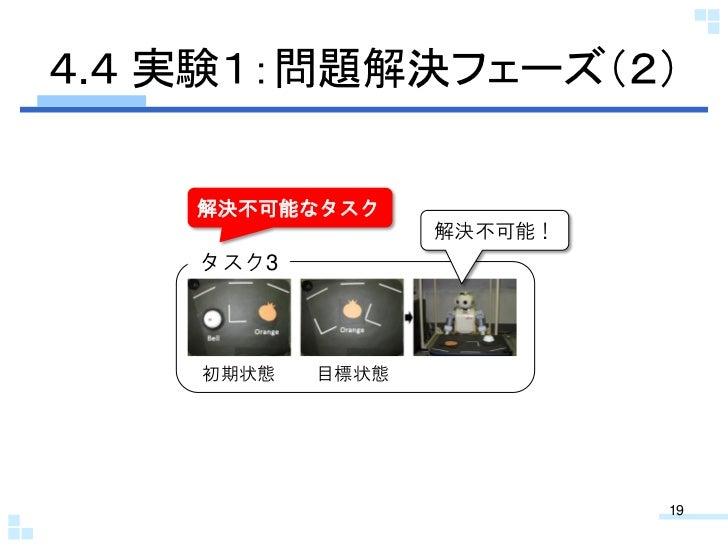 4.4 実験1:問題解決フェーズ(2)    解決不可能なタスク                  解決不可能!    タスク3    初期状態   目標状態                           19