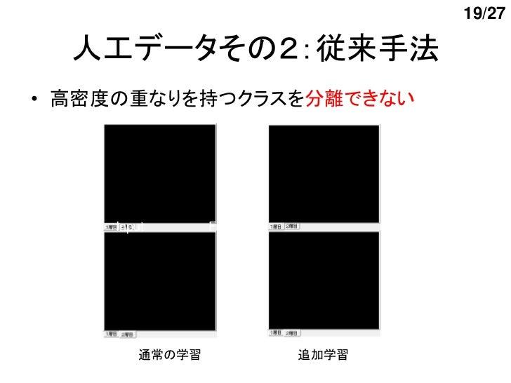 19/27  人工データその2:従来手法    Input      First layer   Second layer• 高密度の重なりを持つクラスを分離できない    Input      First layer   Second lay...
