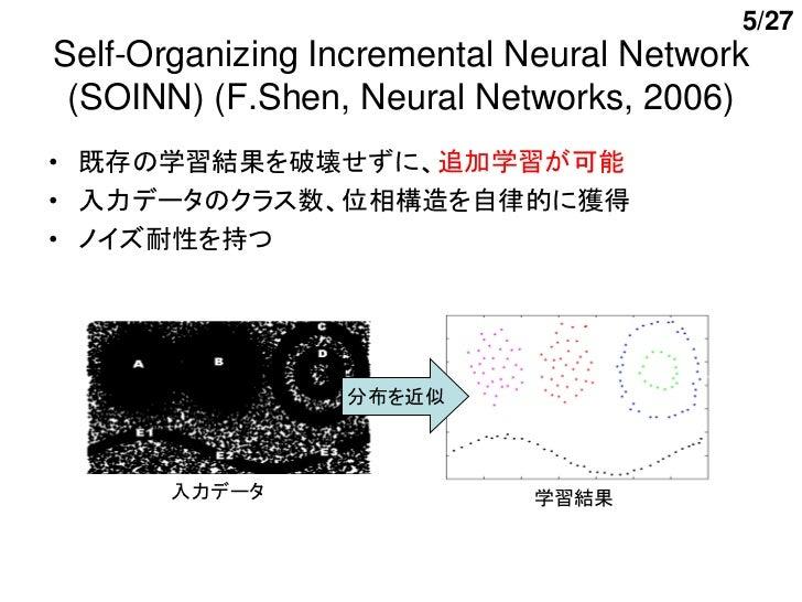 5/27Self-Organizing Incremental Neural Network (SOINN) (F.Shen, Neural Networks, 2006)• 既存の学習結果を破壊せずに、追加学習が可能• 入力データのクラス数、...