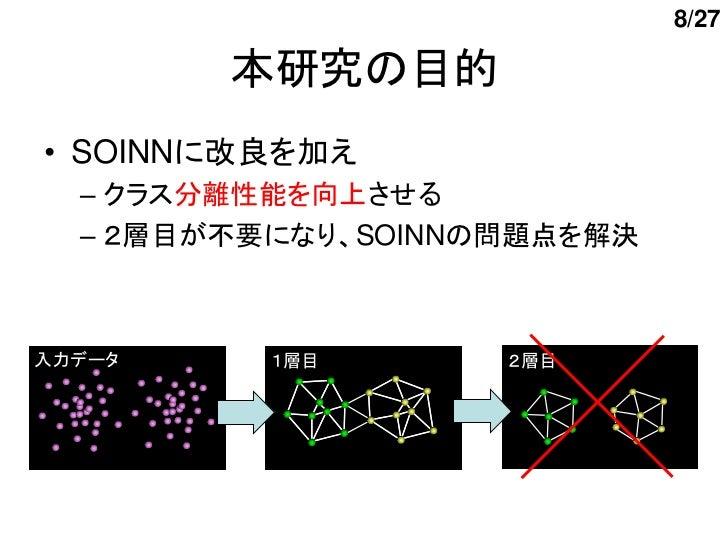 8/27        本研究の目的• SOINNに改良を加え  – クラス分離性能を向上させる  – 2層目が不要になり、SOINNの問題点を解決入力データ     1層目       2層目