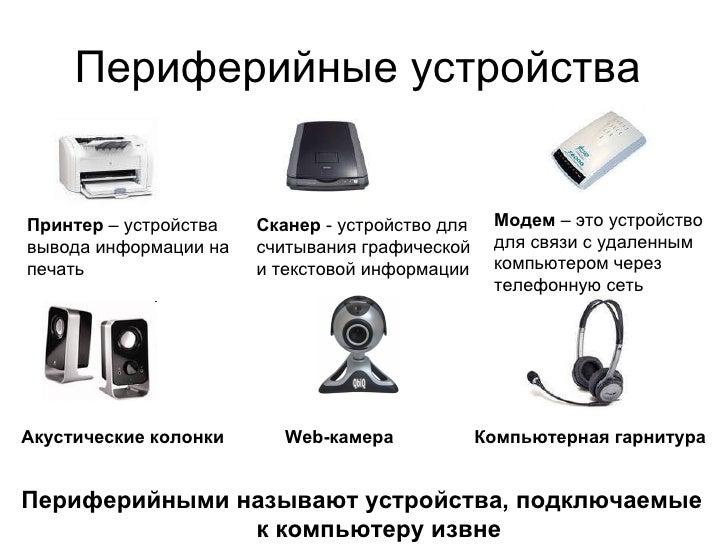 Периферийные устройства  Принтер  – устройства вывода информации на печать Сканер  - устройство для считывания графической...