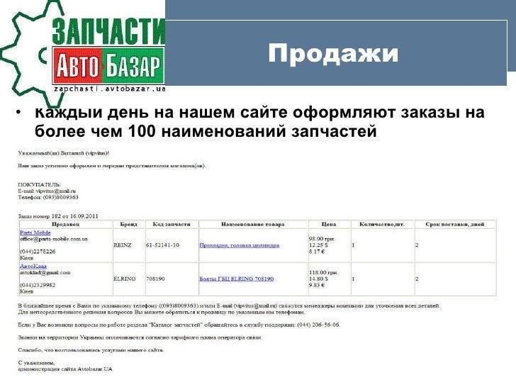 Продажи <ul><li>Каждый день на нашем сайте оформляют заказы на более чем  100  наименований запчастей   </li></ul>