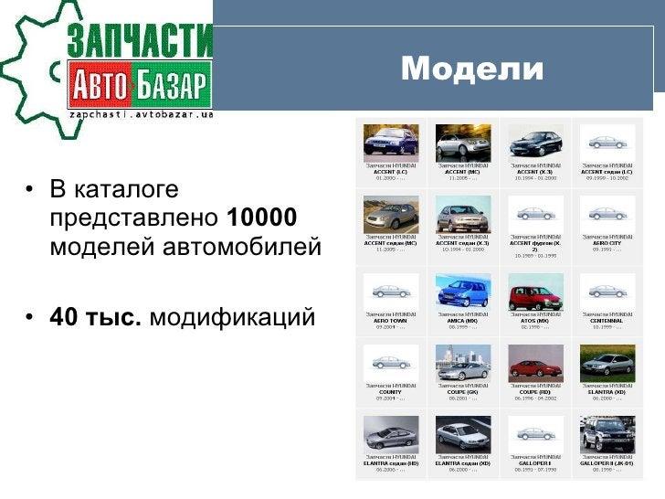 Модели <ul><li>В каталоге представлено  10000  моделей автомобилей </li></ul><ul><li>40 тыс.  модификаций </li></ul>