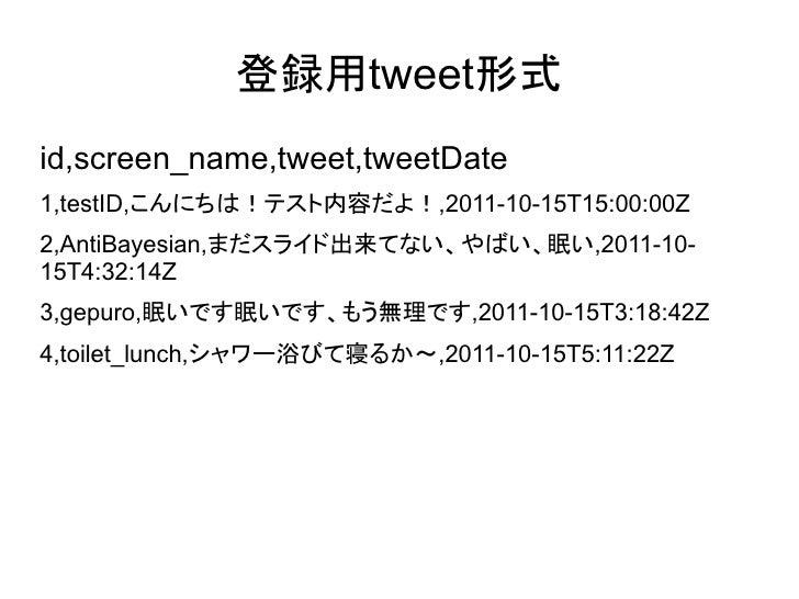 tweet登録●   >cd exampledocs●   > java    -Durl=http://localhost:8983/solr/update/csv -jar    post.jar tweet.csv