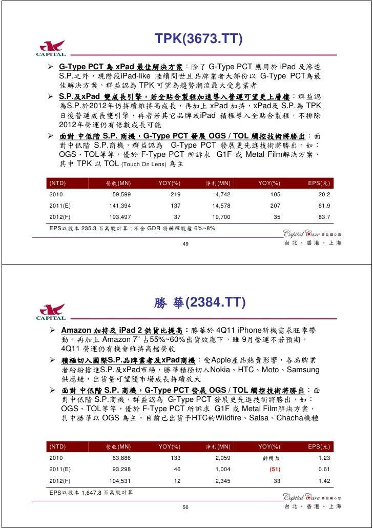 TPK(3673.TT)   G-Type PCT 為 xPad 最佳解決方案:除了 G-Type PCT 應用於 iPad 及滲透   S.P.之外,現階段iPad-like 陸續問世且品牌業者大部份以 G-Type PCT為最   佳解決方...
