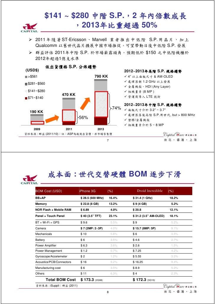 $141 ~ $280 中階 S.P.,2 年內倍數成長                     ,2013年比重超過 50%    2011 年 隨 著 ST-Ericsson 、 Marvell 業 者 推 出 中 低 階 S.P. 用 晶...