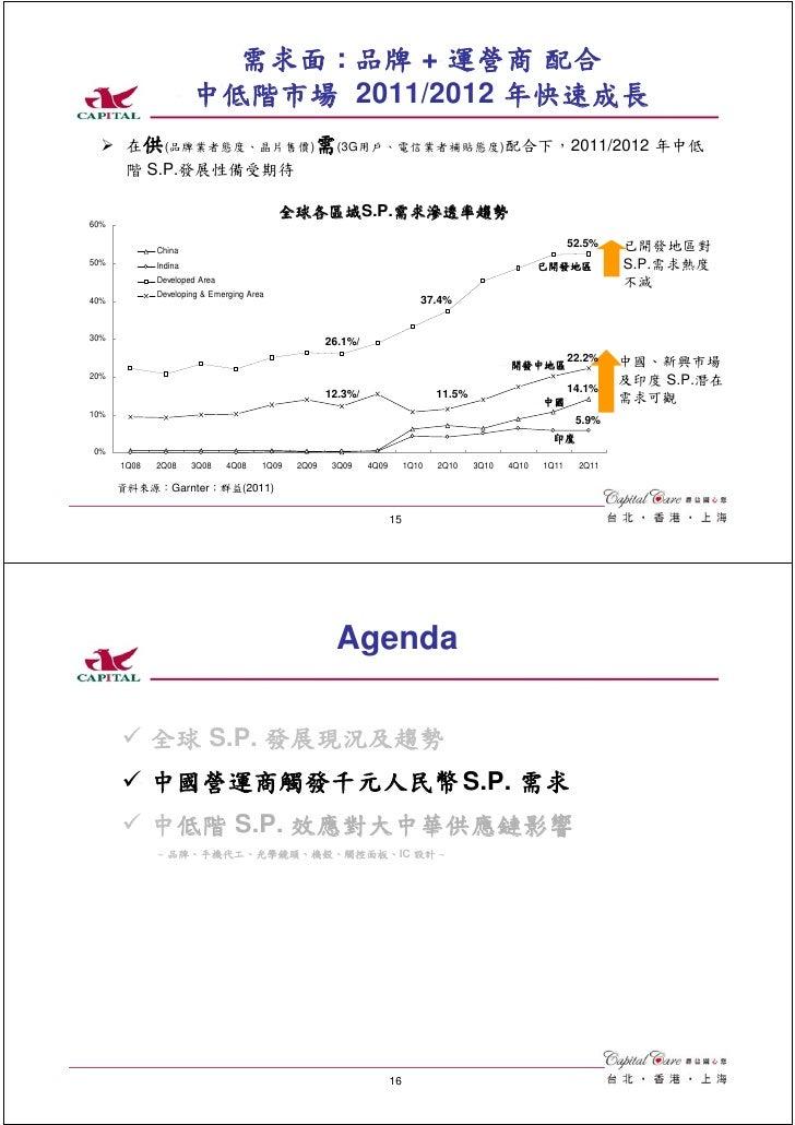 需求面 : 品牌 + 運營商 配合                      中低階市場 2011/2012 年快速成長       在供(品牌業者態度、晶片售價)需(3G用戶、電信業者補貼態度)配合下,2011/2012 年中低       ...