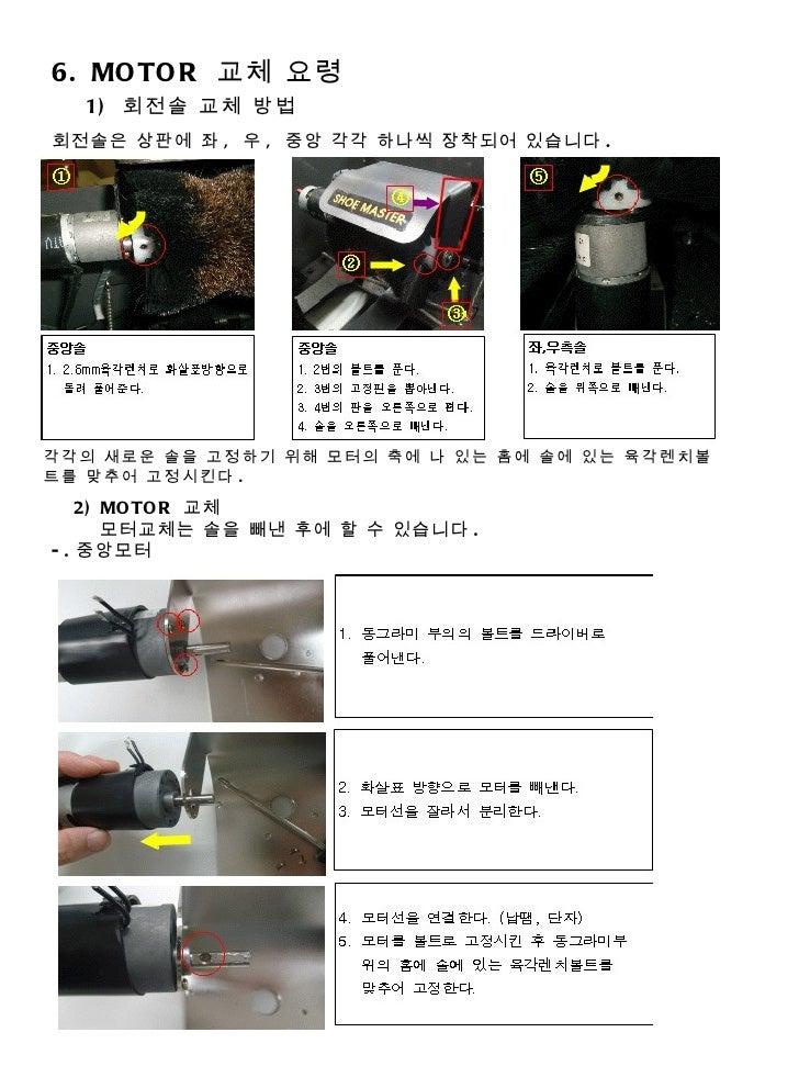 6. MOTOR  교체 요령 1)  회전솔 교체 방법 회전솔은 상판에 좌 ,  우 ,  중앙 각각 하나씩 장착되어 있습니다 . 각각의 새로운 솔을 고정하기 위해 모터의 축에 나 있는 홈에 솔에 있는 육각렌치볼트를 맞추어...