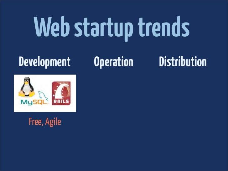 Web startup trendsDevelopment     Operation   Distribution  Free, Agile