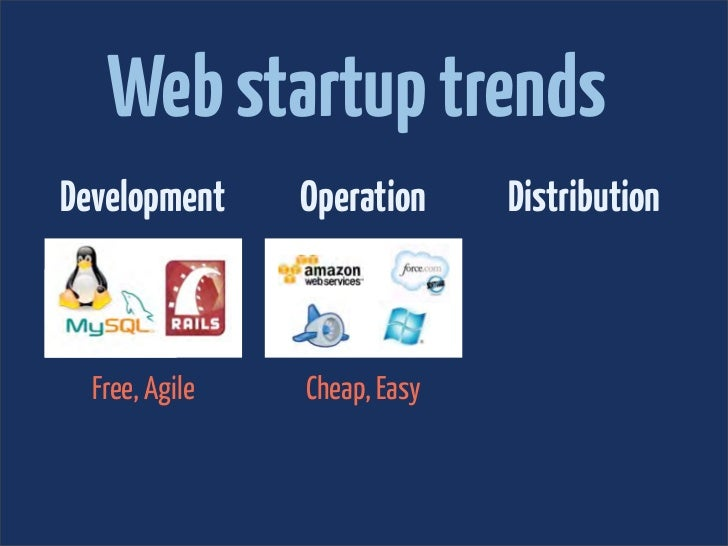 Web startup trendsDevelopment     Operation     Distribution  Free, Agile   Cheap, Easy