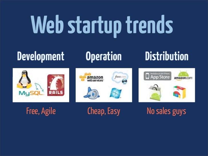 Web startup trendsDevelopment     Operation     Distribution  Free, Agile   Cheap, Easy   No sales guys