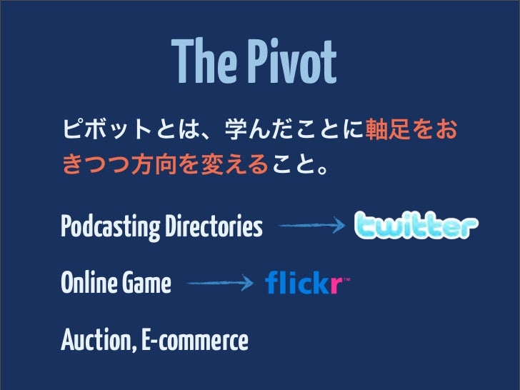 The Pivotピボットとは、学んだことに軸足をおきつつ方向を変えること。Podcasting DirectoriesOnline GameAuction, E-commerce