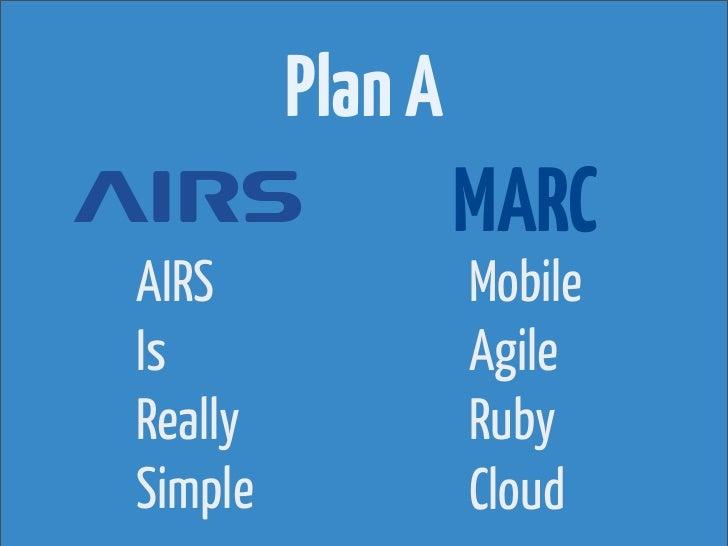 Plan A                  MARCAIRS              MobileIs                AgileReally            RubySimple            Cloud