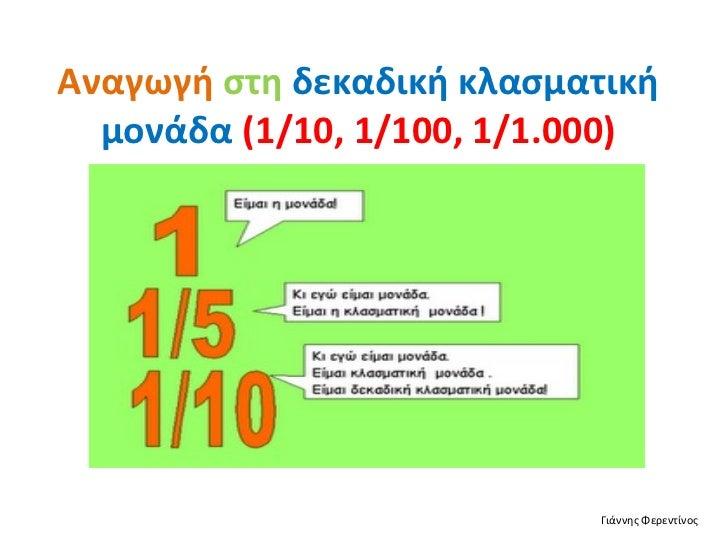 Αναγωγή   στη   δεκαδική κλασματική μονάδα  (1/10, 1/100, 1/1.000) Γιάννης Φερεντίνος