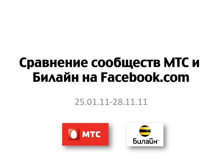 Сравнение сообществ МТС и  Билайн на Facebook.com       25.01.11-‐28.11.11