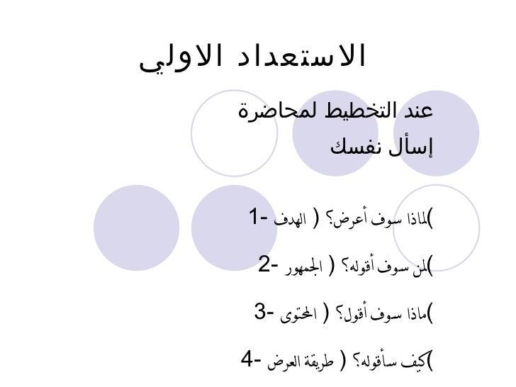 الاستعداد الاولي عند التخطيط لمحاضرة  إسأل نفسك 1-  لماذا سوف أعرض؟  (  الهدف ) 2-  لمن سوف أقوله؟  (  الجمهور ) 3-  ماذا ...