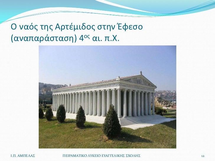 Ο ναόσ τθσ Αρτζμιδοσ ςτθν Ζφεςο(αναπαράςταςθ) 4οσ αι. π.Χ.Ι.Π. ΑΜΠΕΛΑ   ΠΕΙΡΑΜΑΣΙΚΟ ΛΤΚΕΙΟ ΕΤΑΓΓΕΛΙΚΗ ΧΟΛΗ   12