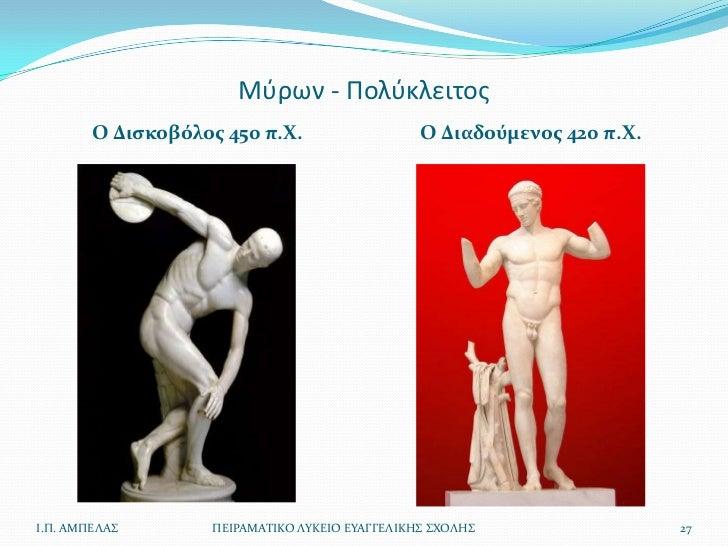 Μφρων - Πολφκλειτοσ        Ο Διςκοβόλοσ 450 π.Χ.                    Ο Διαδούμενοσ 420 π.Χ.Ι.Π. ΑΜΠΕΛΑ        ΠΕΙΡΑΜΑΣΙΚΟ ...
