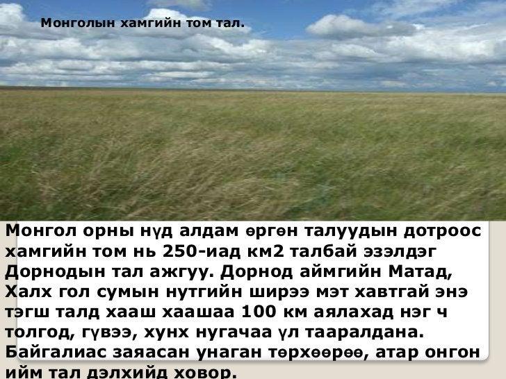 Монголын хамгийн том тал.Монгол орны нүд алдам өргөн талуудын дотроосхамгийн том нь 250-иад км2 талбай эзэлдэгДорнодын тал...