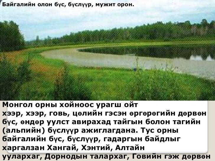 Байгалийн олон бүс, бүслүүр, мужит орон.Монгол орны хойноос урагш ойтхээр, хээр, говь, цөлийн гэсэн өргөрөгийн дөрвөнбүс, ...