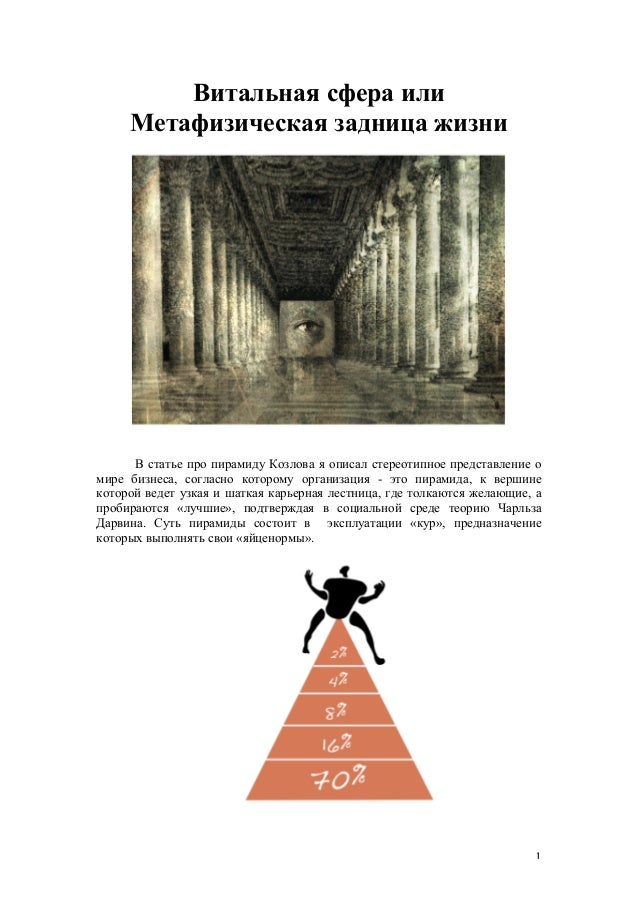 Витальная сфера или     Метафизическая задница жизни      В статье про пирамиду Козлова я описал стереотипное представлени...