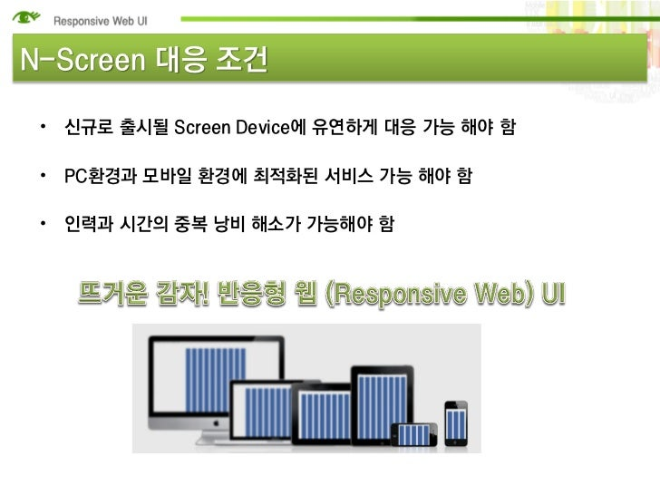 N-Screen 대응 조건 • 신규로 출시될 Screen Device에 유연하게 대응 가능 해야 함 • PC환경과 모바일 환경에 최적화된 서비스 가능 해야 함 • 인력과 시간의 중복 낭비 해소가 가능해야 함
