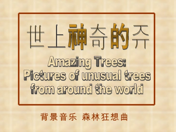 Amazing Trees:  Pictures of unusual trees from around the world  世上神奇的树 背景音乐 森林狂想曲
