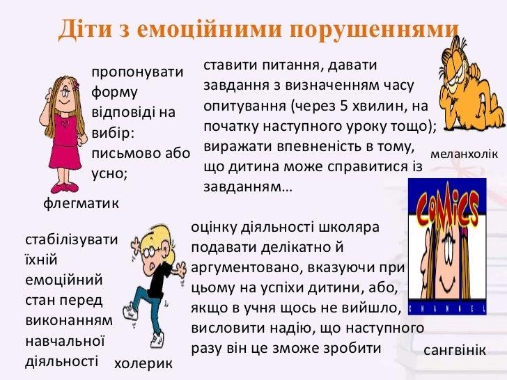 Діти з емоційними порушеннями        пропонувати    ставити питання, давати        форму          завдання з визначенням ч...