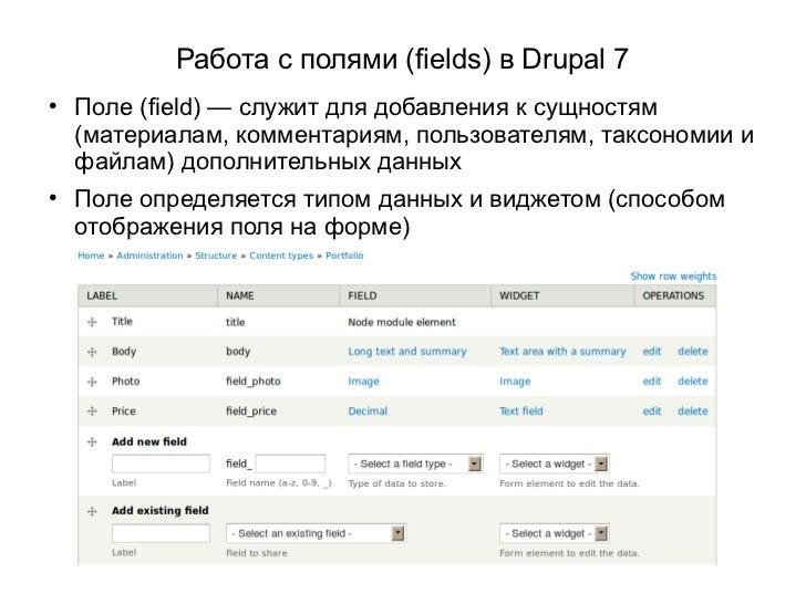 Работа с полями (fields) в Drupal 7    Поле (field) — служит для добавления к сущностям    (материалам, комментариям, пол...