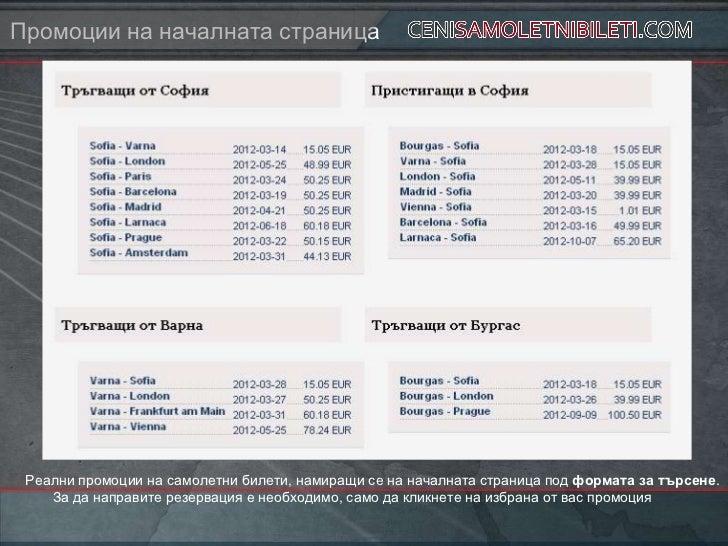 Промоции на началната страница Реални промоции на самолетни билети, намиращи се на началната страница под формата за търсе...