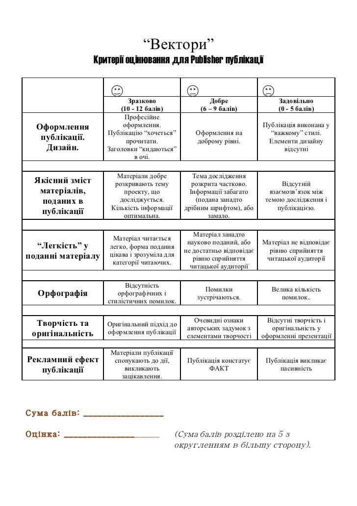"""""""Вектори""""                  Критерії оцінювання для Publisher публікації                            Зразково               ..."""
