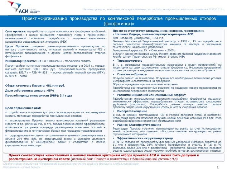 Резюме проектов, выносимых на предварительную экспертизу экспертного совета по состоянию на 22.03.2012 г.             Прое...