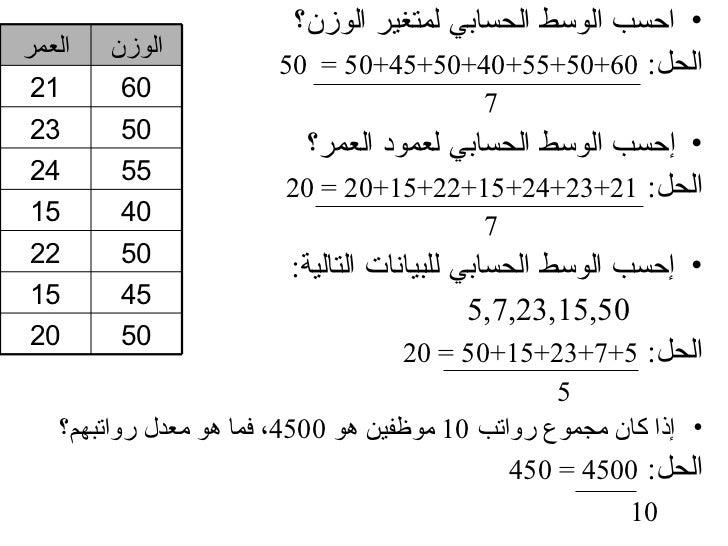 • احسب الوسط الحسابي لمتغير الوزن؟العمر   الوزن                       الحل: 06+05+55+04+05+54+05 = 05 12      0...