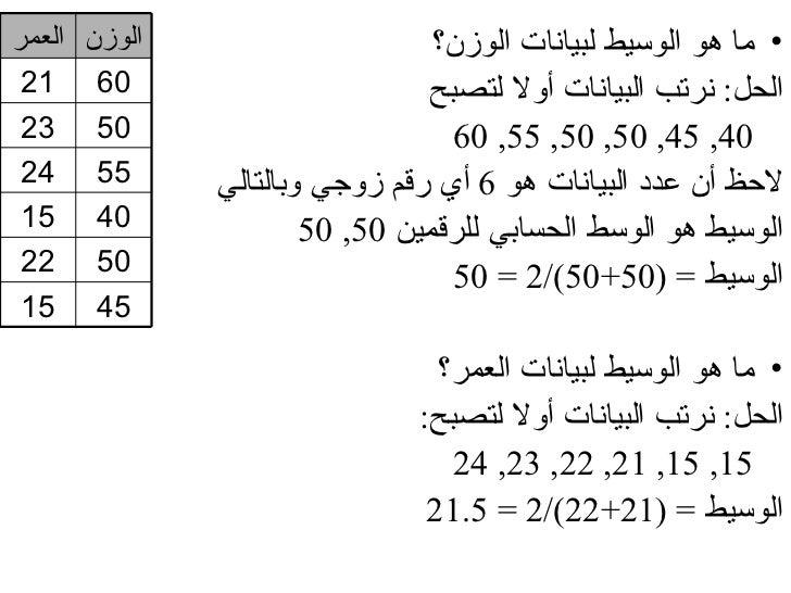 الوزن العمر                     • ما هو الوسيط لبيانات الوزن؟ 06 12                         الحل: نرتب البيانات أول...