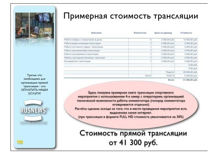 Примерная стоимость трансляции                                               Описание            Количество       Цена за ...