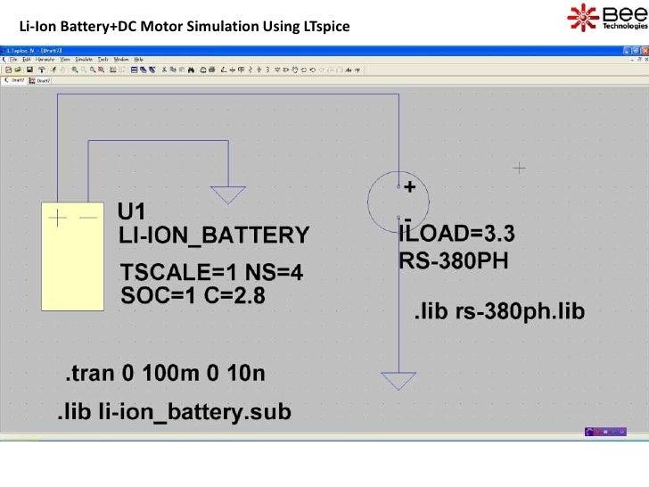 Li-Ion Battery+DC Motor Simulation Using LTspice
