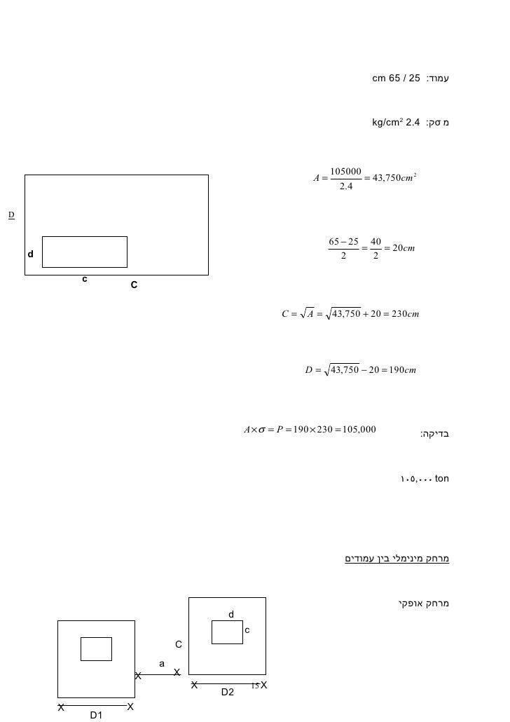 cm 65 / 25 :עמוד                                                                             kg/cm2 2.4 :קσ מ       ...