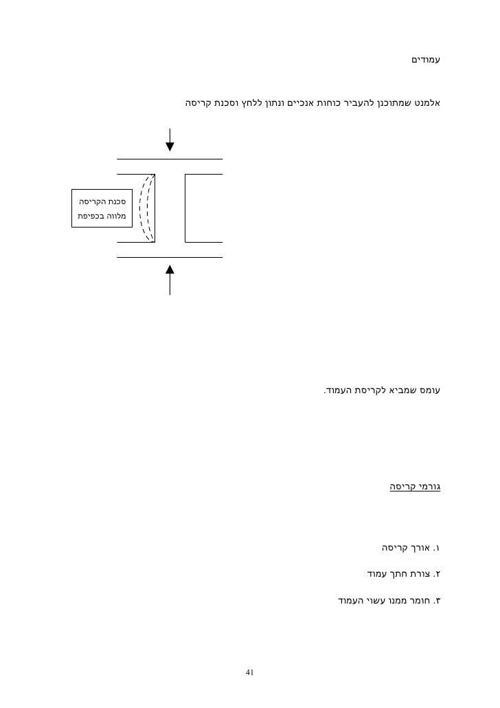 עמודים               אלמנט שמתוכנן להעביר כוחות אנכיים ונתון ללחץ וסכנת קריסהסכנת הקריסהמלווה בכפיפת      העמוד....