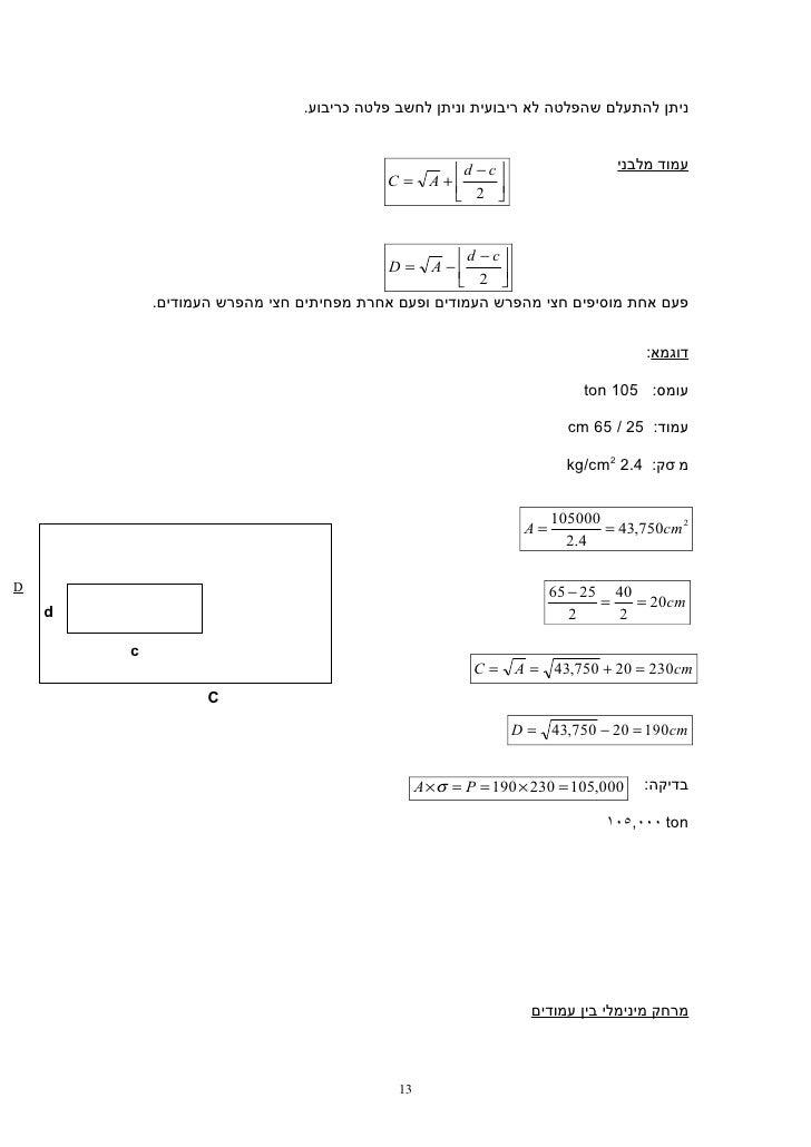 ניתן להתעלם שהפלטה לא ריבועית וניתן לחשב פלטה כריבוע.                                                d − c        ...