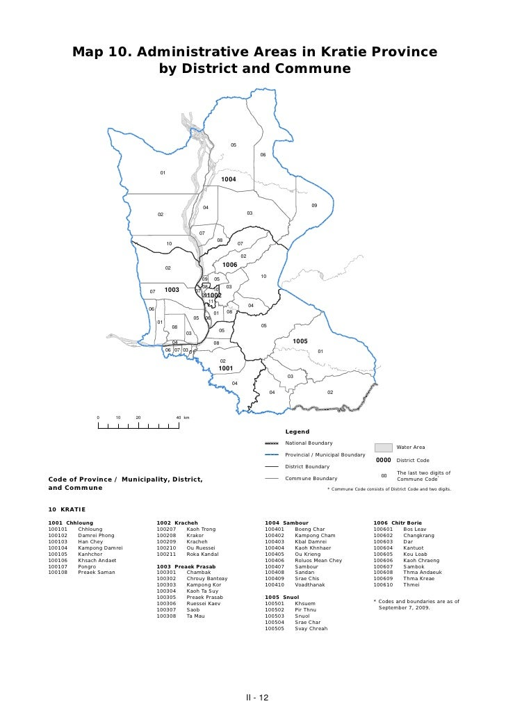 Map 10. Administrative Areas in Kratie Province                 by District and Commune                                   ...