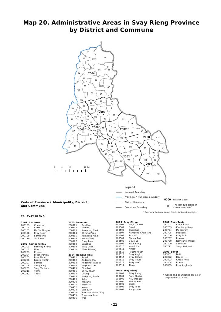 Map 20. Administrative Areas in Svay Rieng Province             by District and Commune                                   ...