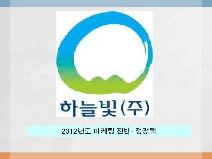 2012년도 마케팅 전반- 정광택