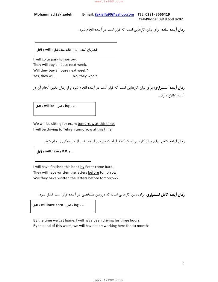 English grammer but in farsi