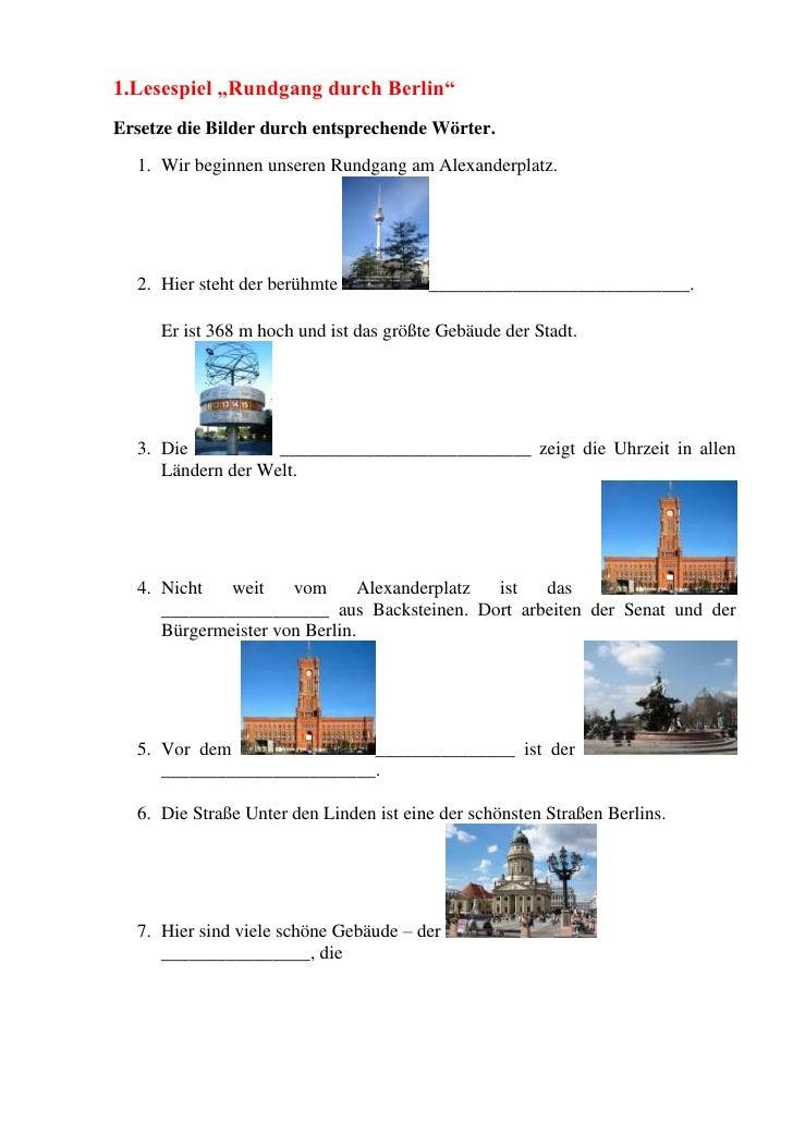 """1.Lesespiel """"Rundgang durch Berlin""""Ersetze die Bilder durch entsprechende Wörter.  1. Wir beginnen unseren Rundgang am Ale..."""