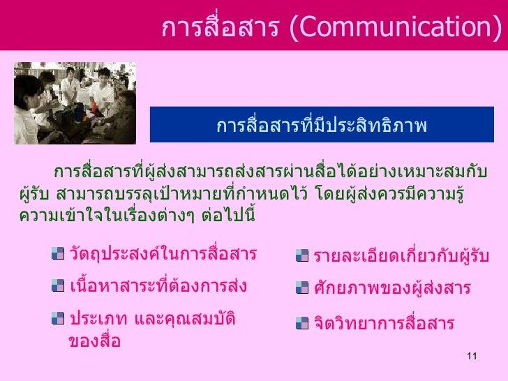 การสือสาร (Communication)                        ่                          การสื่อสารที่มีประสิทธิภาพ       การสื่อสารที่...