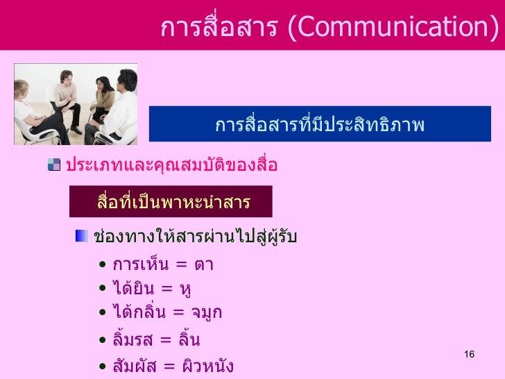 การสือสาร (Communication)                 ่                   การสื่อสารที่มีประสิทธิภาพประเภทและคุณสมบัติของสื่อ   สื่อที...